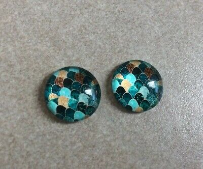 12mm,Cabochons Gorgeous Green & Gold Scales, Glass Dome, 2pcs, Jewellery Making