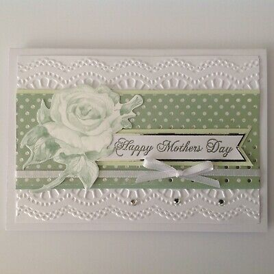 Handmade Mother's Day card: Pastel floral - green.