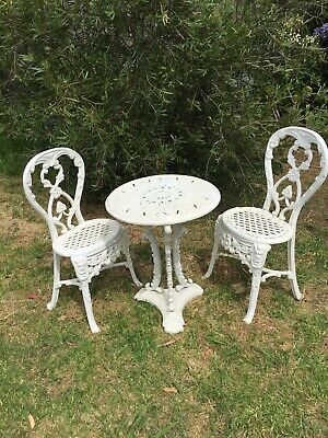 Pretty Antique Cast Iron Garden Setting 3 Piece Rare - Very Heavy And Solid