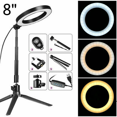 """8"""" LED Ring Light Kit w/ Stand Dimmable Makeup Phone Camera Selfie Lighting US R"""