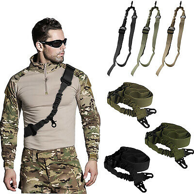 Tactical One Single Point Bungee Rifle For Gun Sling Strap With Release Buckle