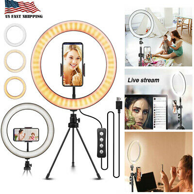 "10""LED Ring Light w/Tripod Stand Kit for Camera Phone Selfie Video Live Stream R"