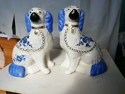 Pair Staffordshire mantle wally dogs blue floral design Spaniel ornament