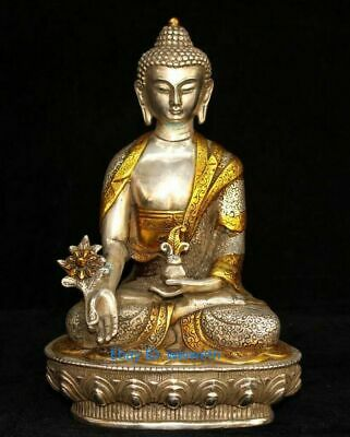 Collect China Old Tibet Silver Gilding Carve Exorcism Buddha Auspicious Statue