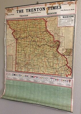 1920's Map of Missouri 1920 Census Figures, The Trenton Times, city populations