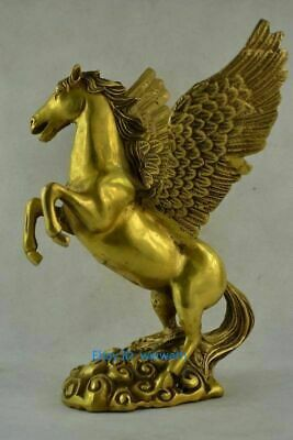 "8.8"" Exquisite Chinese Old Handwork Copper Carving Pegasus Wonderful Statue"