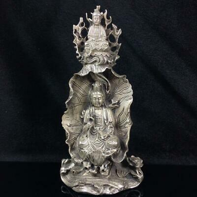 Chinese old Tibet silver Hand carved Bodhisattva Guanyin statue