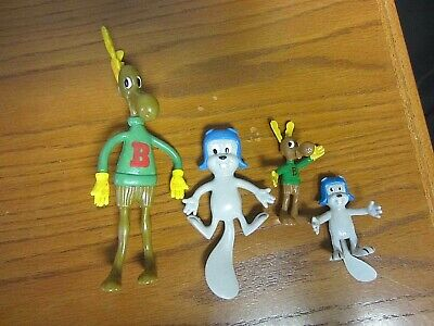 LOT OF 4~Vintage Jesco Rocky and Bullwinkle~Rubber Bendable~Figures~1985