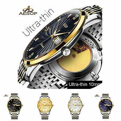 Automatic Mechanical Ultra Thin Watch Luxury Men Minimalist Wristwatch Stainless