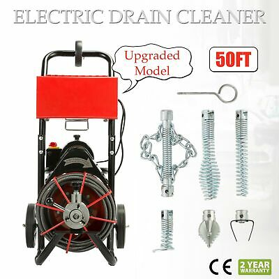 50 FT*1/2'' Drain Auger Pipe Cleaner Cleaning Machine Easy 160 RPM Sewer Snake