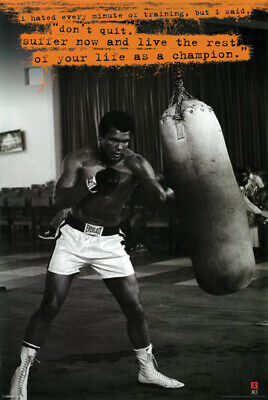 Muhammad Ali Punching Bag Poster 24 x 36 Don't Quit Motivational Quote New
