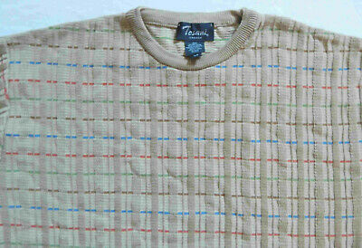 Beige Rainbow Striped Crewneck Pullover Sweater - Large Mens Cotton Vtg Canada