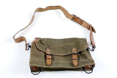Vintage Swiss Army Military Small Shoulder Bag 1970'S Leather Canvas Switzerland