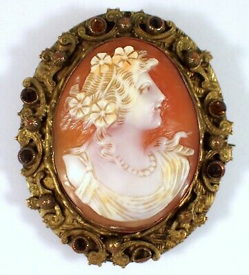 Antique Victorian Hand Carved Shell Cameo Lady w Flowers Pearls Stone Brooch Pin