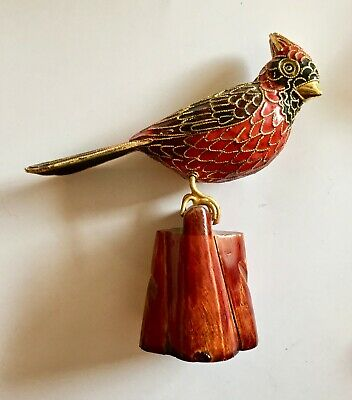 Cloisonne Red Cardinal Bird on Perch Stand