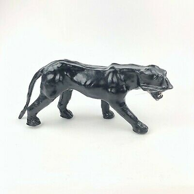 """VTG Mcm 1970's LEATHER BLACK PANTHER STATUE MADE IN INDIA 18""""x7"""""""