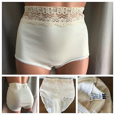70's Panties Soft Brushed Nylon Ivory Lace Hi-Cut Panty Briefs ONE SIZE FITS 5-7