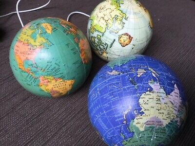Pair of papier-mâché 33cm circumference world globes Undamaged Surplus to need