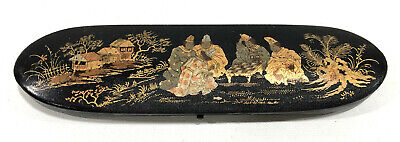 Antique Gold Painted Chinese Lacquer Glasses Trinket Box Chess Xiangqi JN