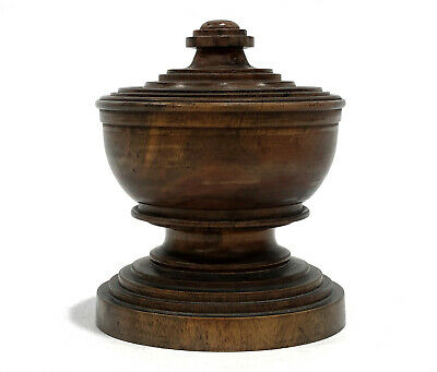 Treen Antique Covered Chalice Cup Bowl Turned Wood Salt Snuff Tobacco Herb Spice