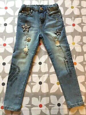 RI River Island Girls Jewelled Ripped Jeans Aged 7 Years Worn Once