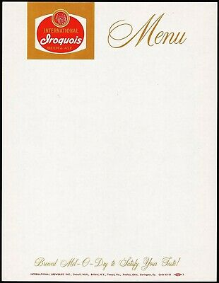 Vintage menu IROQUOIS BEER and ALE indian pictured unused new old stock n-mint