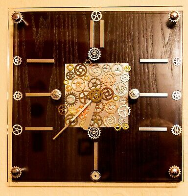Captain Flynn's Electric Circus - Steampunk clock, black Wood and glass vintage
