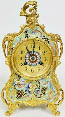 Sublime Small Antique French 8 Day Bronze & Champleve Enamel Rococo Mantle Clock