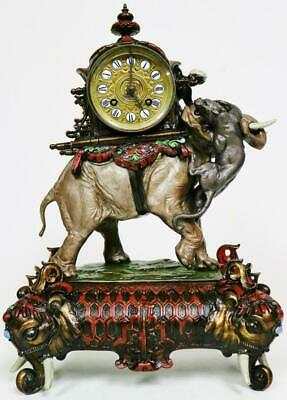 Rare Antique French 8 Day Hand Painted Elephant & Panther Figural Mantle Clock