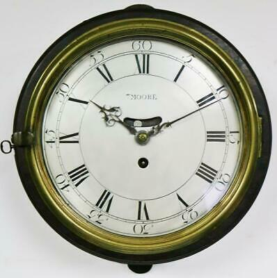 Rare Antique English 18thC Single Fusee Verge Escapement Dial Wall Station Clock