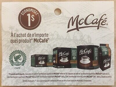 Lot of 20 x 1.00$ McCafe Products Coupons Canada