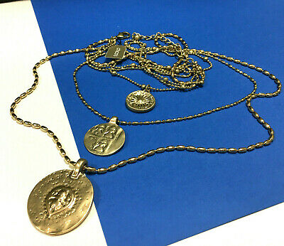 New CHICO'S Coin Pendant Necklace Medallion 3-Strand LONG Gold PL CHAINS  CC77K