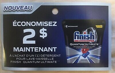 Lot of 20 x 2.00$ Finish Quantum Ultimate Products Coupons Canada