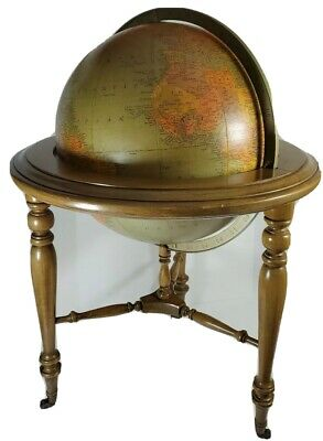 """Vintage 16"""" Library World Replogle Globe with Chapelwood Cherry Stand by  Brandt"""