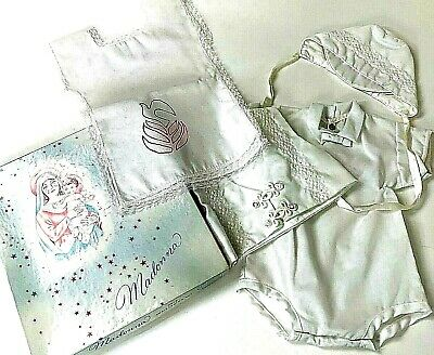 Vintage 60s Madonna Infant Baby Boys Baby Christening Outfit 4 Piece Set White