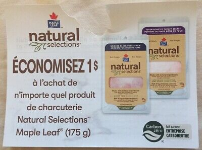 Lot of 20 x 1.00$ Maple Leaf Products Coupons Canada