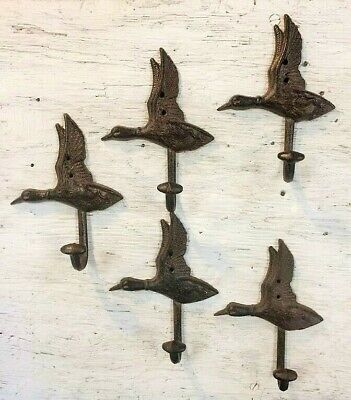 SET of 5 DUCK HOOKS rustic bronze brown cast iron heavy duty hooks for lodge