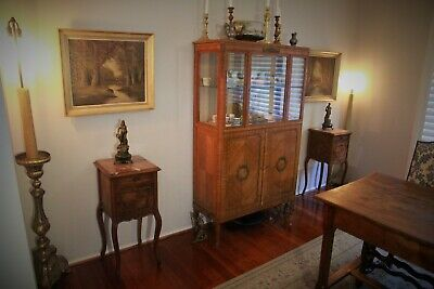 Pair of French Antique Marble Topped Walnut Bedside Tables