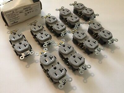 Lot of 9 Leviton CR20-GY 2P, 3W, Duplex Receptical, Commercial Grade, Gray