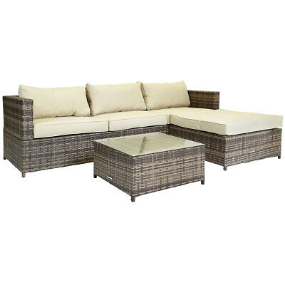 Rattan Garden Corner Sofa Table Set 3 Seater Patio Conservatory Dining Furniture