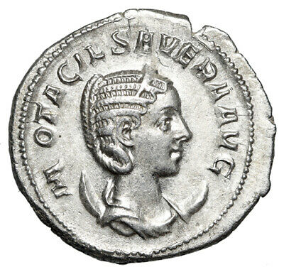 LARGE Silver Roman Coin of Scarce Empress Otacilia Severa CERTIFIED High Quality