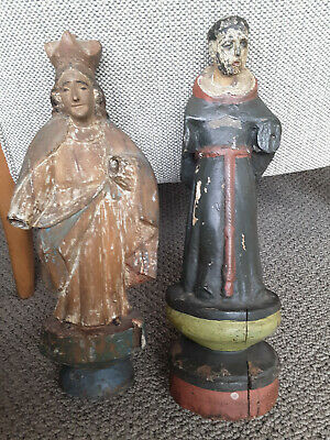 Antique Santos-Religious Icon:priest/Virgin Mary? Wooden, 14 Inches, 200$4Both