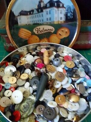 Round Biscuit Tin Full Of Buttons