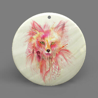 Natural Ablone Shell Wolf Round Shape Pendant Necklace Jewelry  J1706 1780
