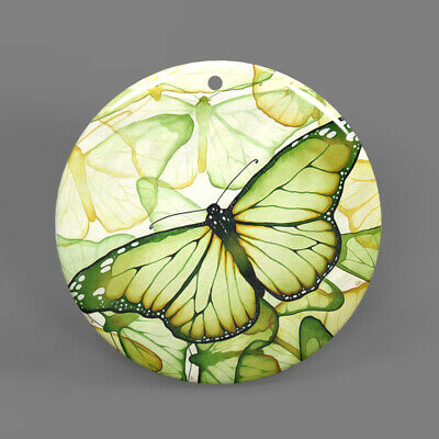Color Printing Butterfly White Shell Pendant Necklace J1705 0048