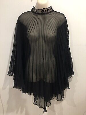 Vintage Retro Black Elegant Lace Poncho Cape Sheer Over Top (Would Fit All) Sz12