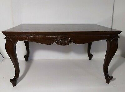 Antique French Louis XV Victorian Style Solid Carved Wood Coffee Table