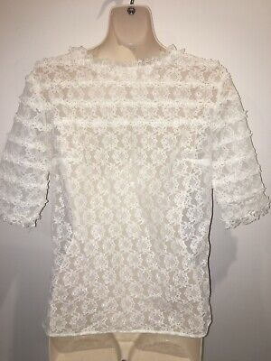 Vintage Retro 1970's 60's White Lace Button Back Top Blouse Size Approx M