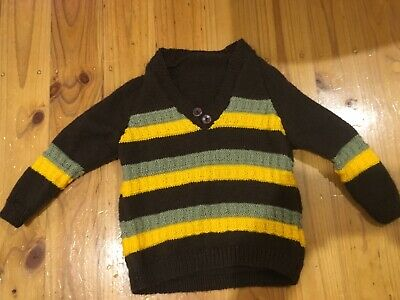 Handmade Knitted Kids Retro Jumper Brown/Yellow/Green Size Approx 4-6yrs