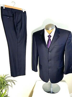Hickey Freeman Mens Navy Blue Pin Stripe 3 Button Wool Suit 40 S Pants 33 x 27